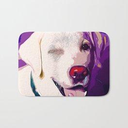 labrador retriever dog winking vector art Bath Mat
