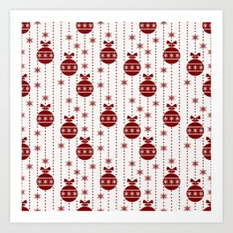 Large Dark Christmas Christmas Candy Apple Red Ball Ornaments Art Print