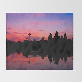 Angkor Wat Sunrise Reflection Throw Blanket