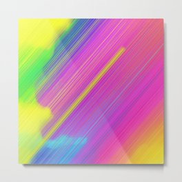 rainbow colored diagonal speed motion lines art  Metal Print