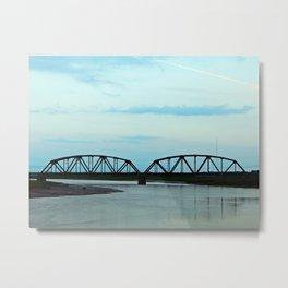 Train Bridge at Dusk Metal Print