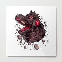 Dino with Headphones Finn Metal Print
