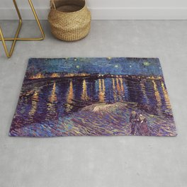 Famous Art, Starry Night over the Rhone, by Vincent van Gogh. Rug