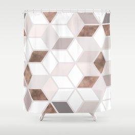 Golden Cubes II Shower Curtain