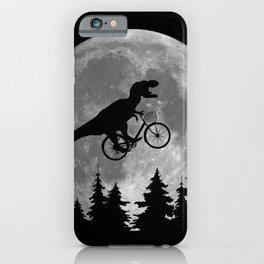 Biker t rex In Sky With Moon 80s Parody iPhone Case