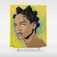rihanna Shower Curtains featuring Rihanna by CreativeBre
