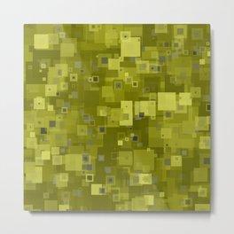 Yellow Hues Square Pixels Abstract Metal Print