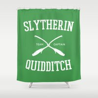 hufflepuff Shower Curtains featuring Hogwarts Quidditch Team: Slytherin by IA Apparel
