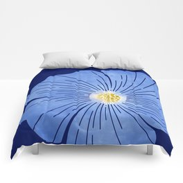 Morning Glory / blue floral art Comforters