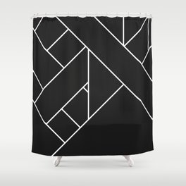 Charcoal Black and White Geometric Abstract Paths and Lines Shower Curtain