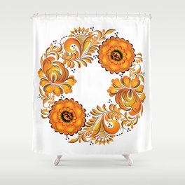 Flowers russian folk Shower Curtain