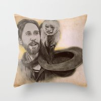 jared leto Throw Pillows featuring Jared Leto and Ripley the monkey by Jenn