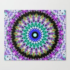 Lovely Healing Mandalas in Brilliant Colors of  violet, purple, green, blue, teal, white, yellow Canvas Print