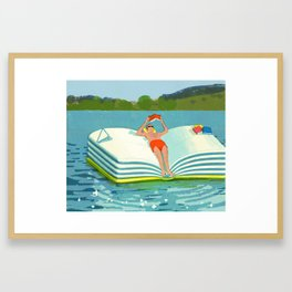 Summer Reading on the Lake Framed Art Print