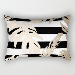 Simply Tropical Palm Leaves on Stripes Rectangular Pillow