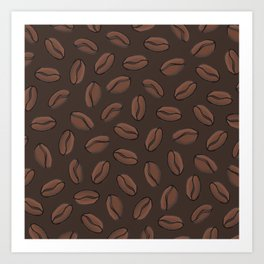 Dark Coffee Beans Art Print