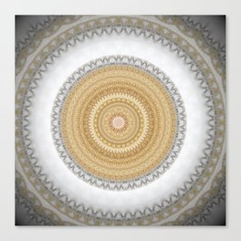 Gold white White and Silver Marble Canvas Print