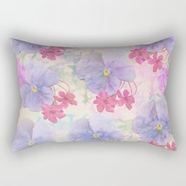 Painterly purple pansies and pink Oxalis Rectangular Pillow