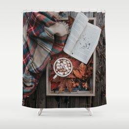 Marshmallows, Hot Chocolate, Autumn Shower Curtain