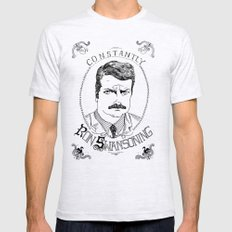 Constantly Ron Swansoning Ash Grey MEDIUM Mens Fitted Tee