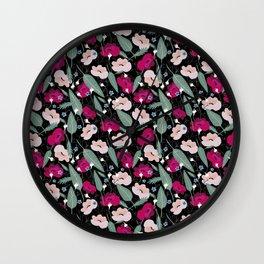 Botanical pink pattern Wall Clock