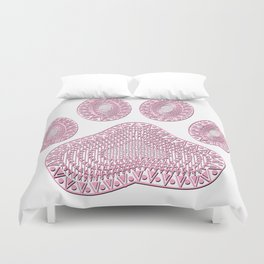 Abstract Pink Ink Dog Paw Print Duvet Cover