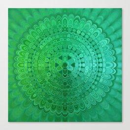 Green Mandala Circle Canvas Print
