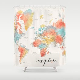 """""""Explore"""" - Colorful watercolor world map with cities Shower Curtain"""
