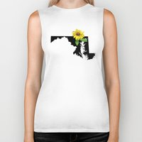 maryland Biker Tanks featuring Maryland Silhouette and Flower by Ursula Rodgers