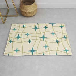 Mid Century Modern Cosmic Star Pattern 693 Cream Turquoise Olive Rug