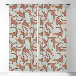 Crocodiles (Calm Beige and Gray Palette) Blackout Curtain