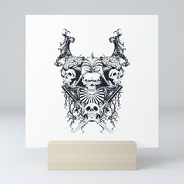 Japan samurai skull Mini Art Print