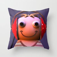 headphones Throw Pillows featuring Headphones by Aguinaldo Goncalves