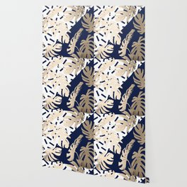 Simply Tropical Nautical Navy Memphis Palm Leaves Wallpaper