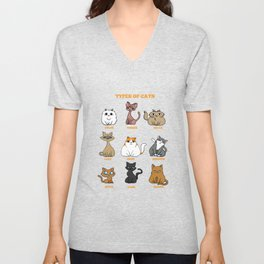Cat Breeds Cat mother Lady funny gift Unisex V-Neck