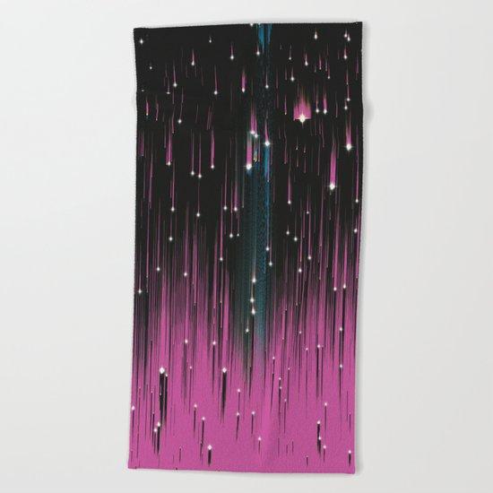 Pink Meteors Beach Towel