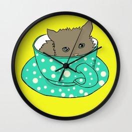 Kitten In A Teacup Wall Clock