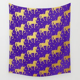 Purple and Gold Unicorn and Stars Pattern Wall Tapestry