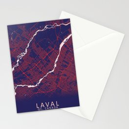 Laval, QC, Canada, Blue, White, City, Map Stationery Cards