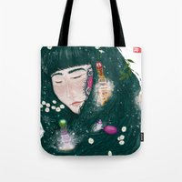 perfume Tote Bags featuring Hair Perfume by Luna Kirsche
