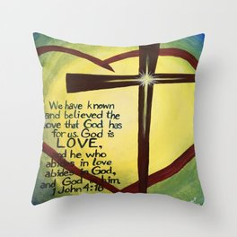 God Is Love Cross Throw Pillow