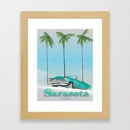 Sarasota Florida vintage style travel poster Framed Art Print