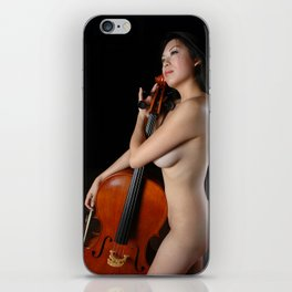 0205-JC Nude Cellist with Her Cello and Bow Naked Young Woman Musician Art Sexy Erotic Sweet Sensual iPhone Skin