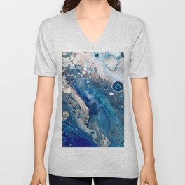 Blue Marbled Fluid Painting Unique Swirls Water Unisex V-Neck