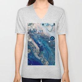 Blue Marbled Fluid Painting Unique Swirls Water Unisex V-Neck