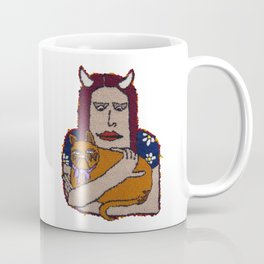 Girl with Cat Coffee Mug