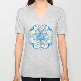 Teal Blue, Pearl & Pink Floral Pattern Unisex V-Neck