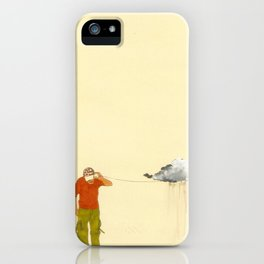 man listening to a cloud iPhone Case