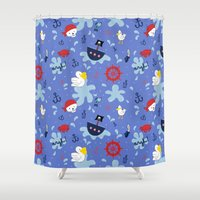 pirates Shower Curtains featuring Pirates by lindsey salles
