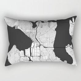 Seattle Map Gray Rectangular Pillow